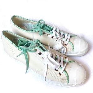 Other - Converse Men's Cream Green Leather Sneakers Sz 9.5